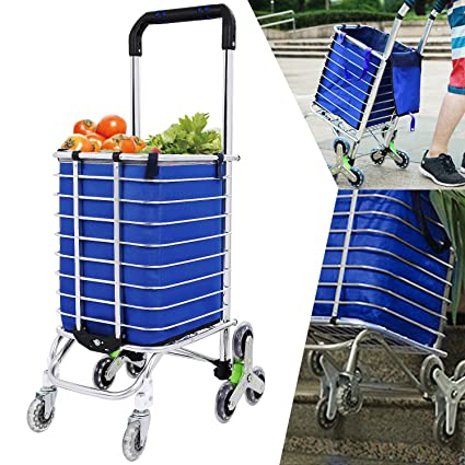 704139769a92 Bestlucky Folding Utility Shopping Carts, Stair Climbing Grocery Laundry  Utility Cart with Swivel Wheel Bearings & Removable Waterproof Canvas Bag -  ...
