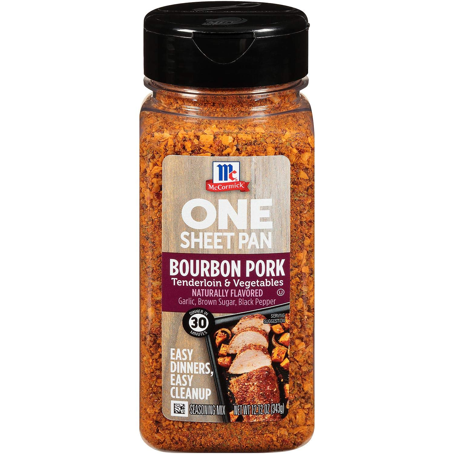McCormick One Sheet Pan Bourbon Pork Seasoning Naturally Flavored, 12.12 Ounce