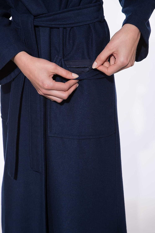 Gr/ö/ße XS 120 cm Lang Dunkelblau Leicht Farbe Blau Damen Bademantel mit Kapuze Morgenstern