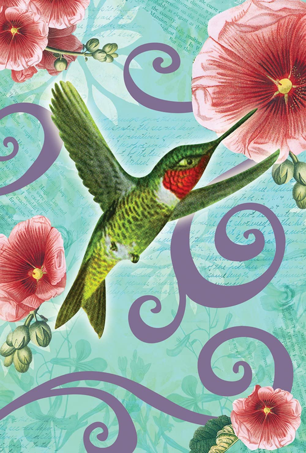 Toland Home Garden Ruby Throated Hummingbird 12.5 x 18 Inch Decorative Spring Flower Flying Bird Garden Flag