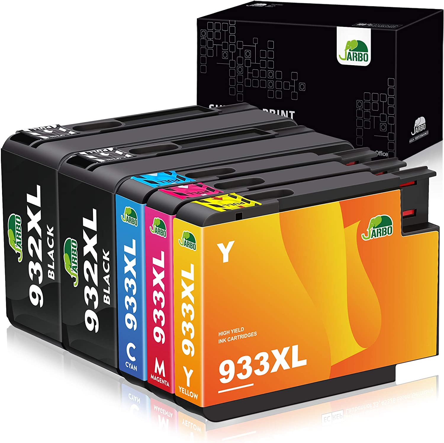 JARBO Compatible Ink Cartridges Replacement for HP 932XL 933XL High Yield, 5 Packs (2 Black 1 Cyan 1 Magenta 1 Yellow), Compatible with HP Officejet 6700 6600 6100 7110 7610 7612 Printer