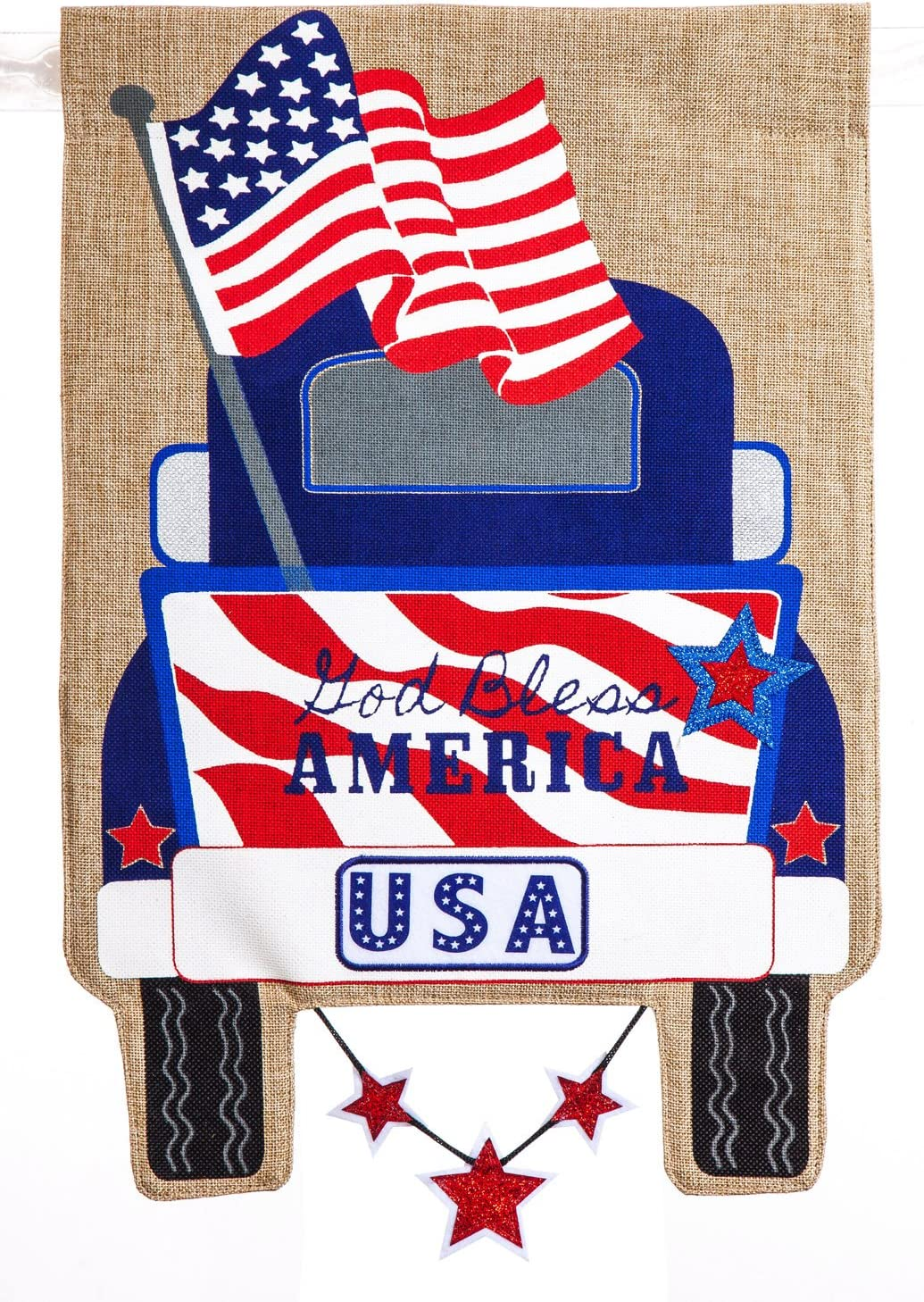 Evergreen Flag Patriotic Pickup Truck Garden Burlap Flag - 12.5 x 18 Inches Outdoor Decor for Homes and Gardens