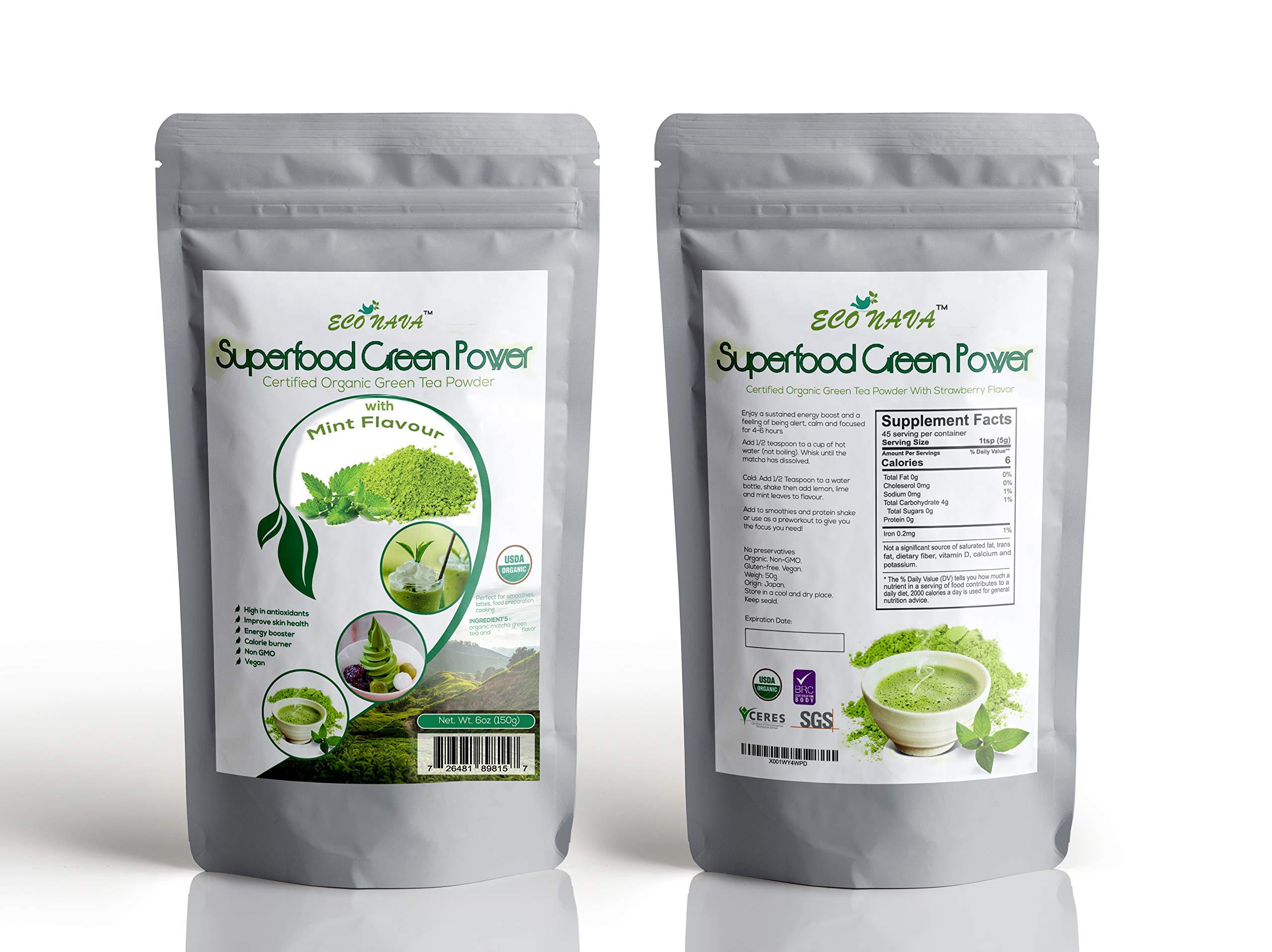 Certified 100% Natural Japanese Mint Matcha Green Tea Powder 150g Bag