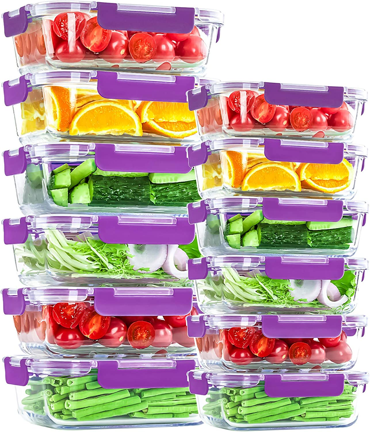 Glass Food Storage Containers with Airtight Lids 24 Pieces [12 containers with lids] Microwave/Oven/Freezer & Dishwasher Safe