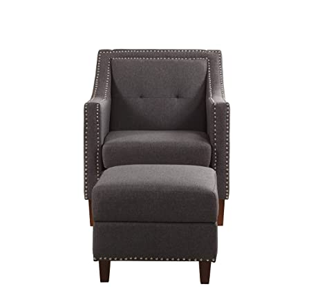 NHI Express 92013-16GY Patrick Accent Chair with Ottoman, Gray