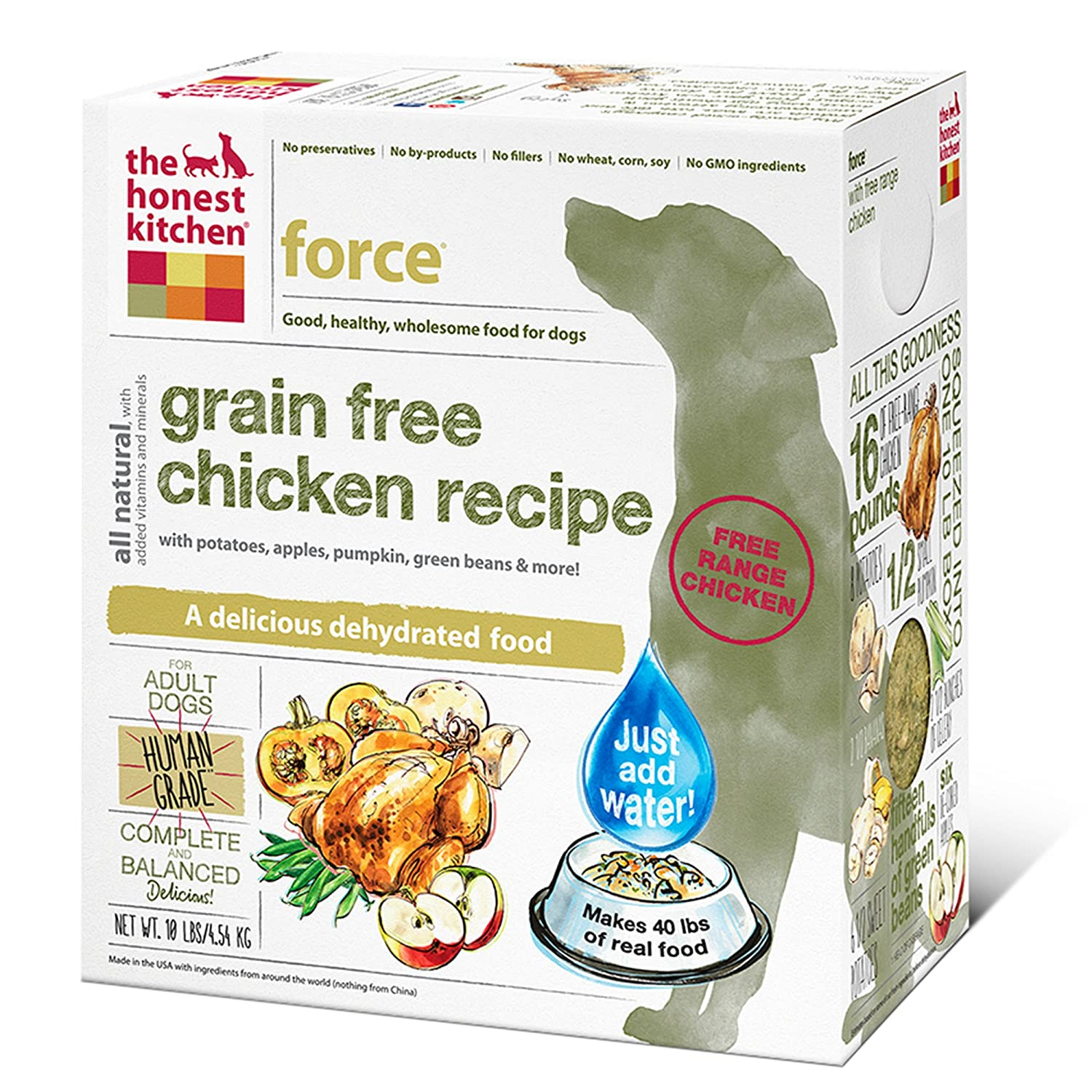 superb Is The Honest Kitchen Healthy For My Dog #2: Amazon.com: The Honest Kitchen Force: Natural Human Grade Dehydrated Dog Food, Grain Free Chicken, 10 lbs (Makes 40 lbs): Pet Supplies