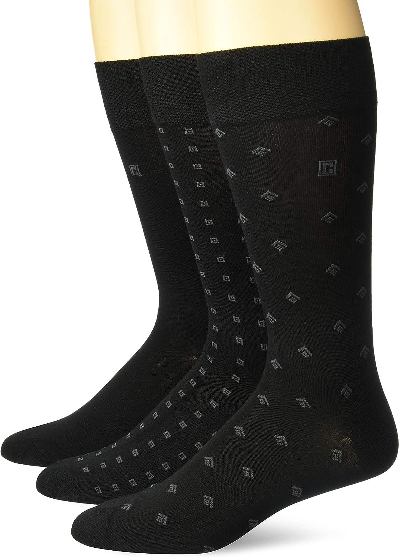 Chaps Men's Assorted Fashion Pattern Dress Crew Socks (3 Pack), black, Shoe Size: 6-12