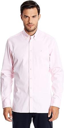 Hackett London Washed Plain Pinpoint - Camisa casual para hombre, Rosa Claro: Amazon.es: Ropa y accesorios
