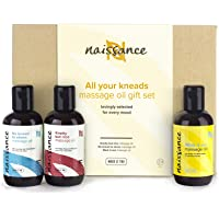 Naissance 'All Your Kneads' Massage Oil Favourites Gift Set for Any Occasion - 100% Natural - for Sensual, Aches and Pains, and Relaxing Massage.