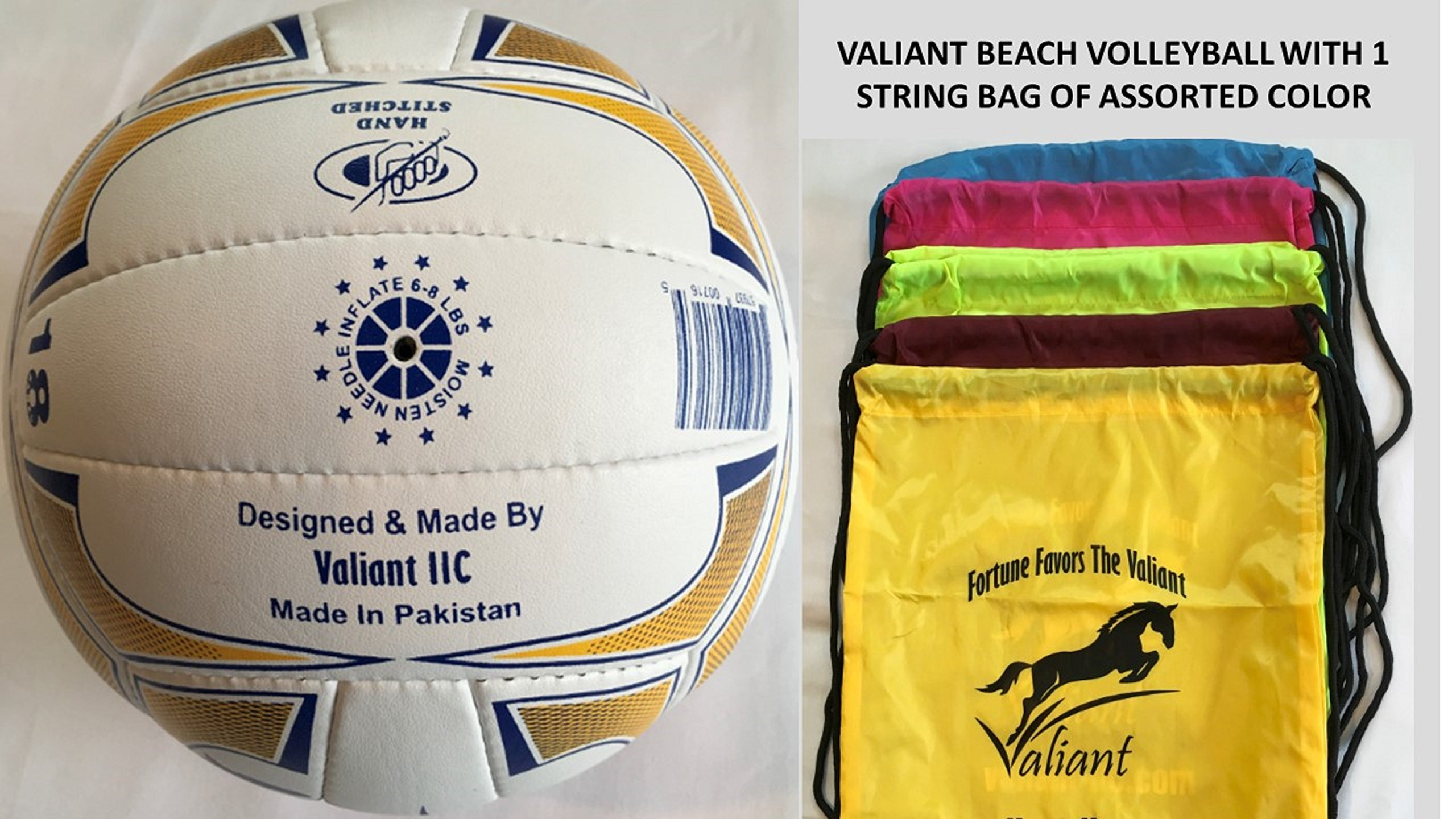 Valiant Beach Volleyball Official Hand Sewn (VV-USA-100) Outdoor Game Tournament String Bag