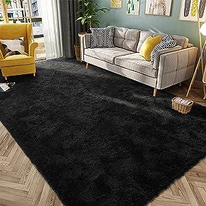 HQAYW Modern Fluffy Area Rug, Shaggy Rugs for Bedroom Living Room Ultra Soft Shag Fur Carpets for Kids Girls Nursery Plush Fuzzy Rug Cute Home Decor Rug, 5' x 8', Black