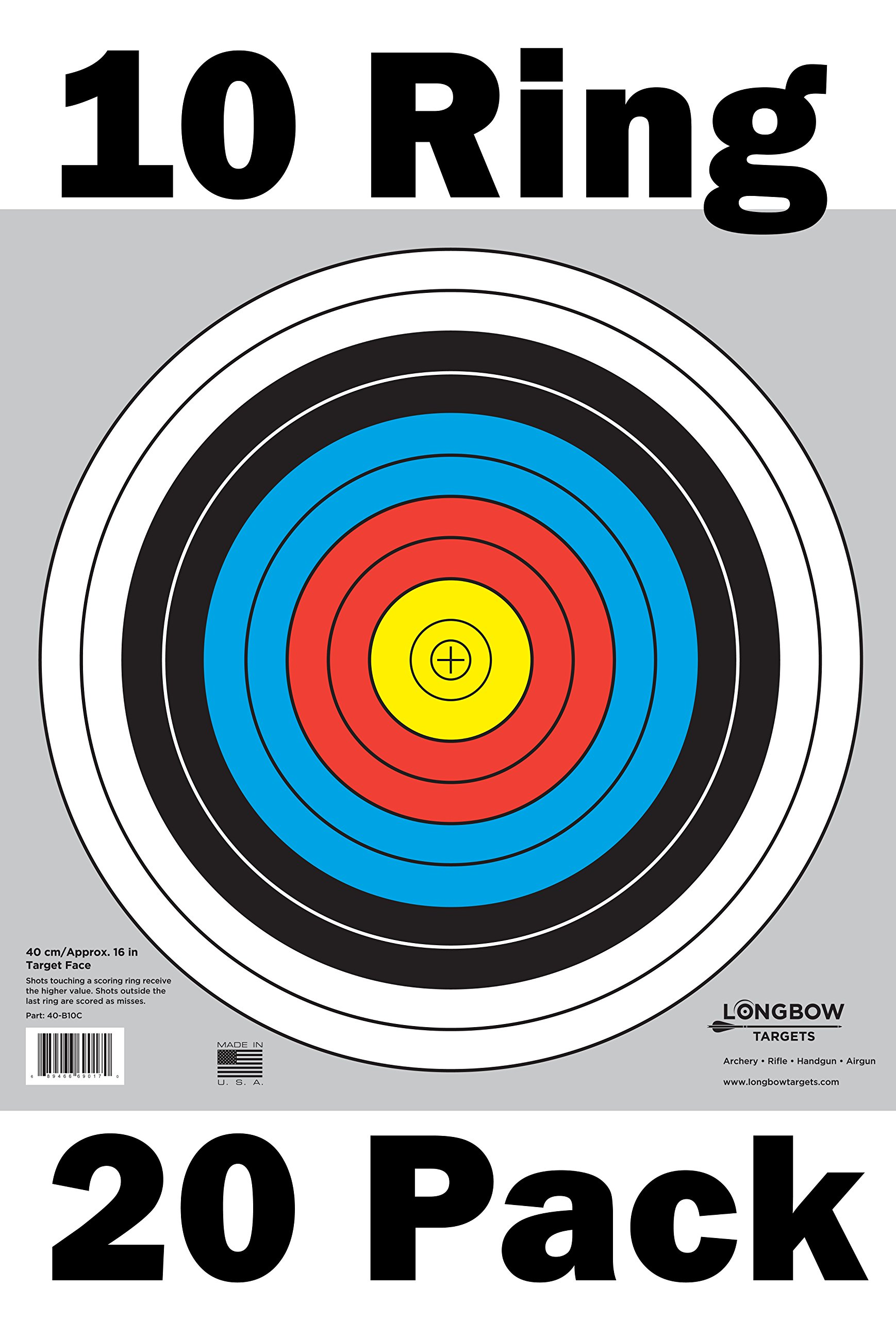 Archery 40cm & 80cm Targets by Longbow (20 Pack, 40cm/Approx 17'' (10 Ring))