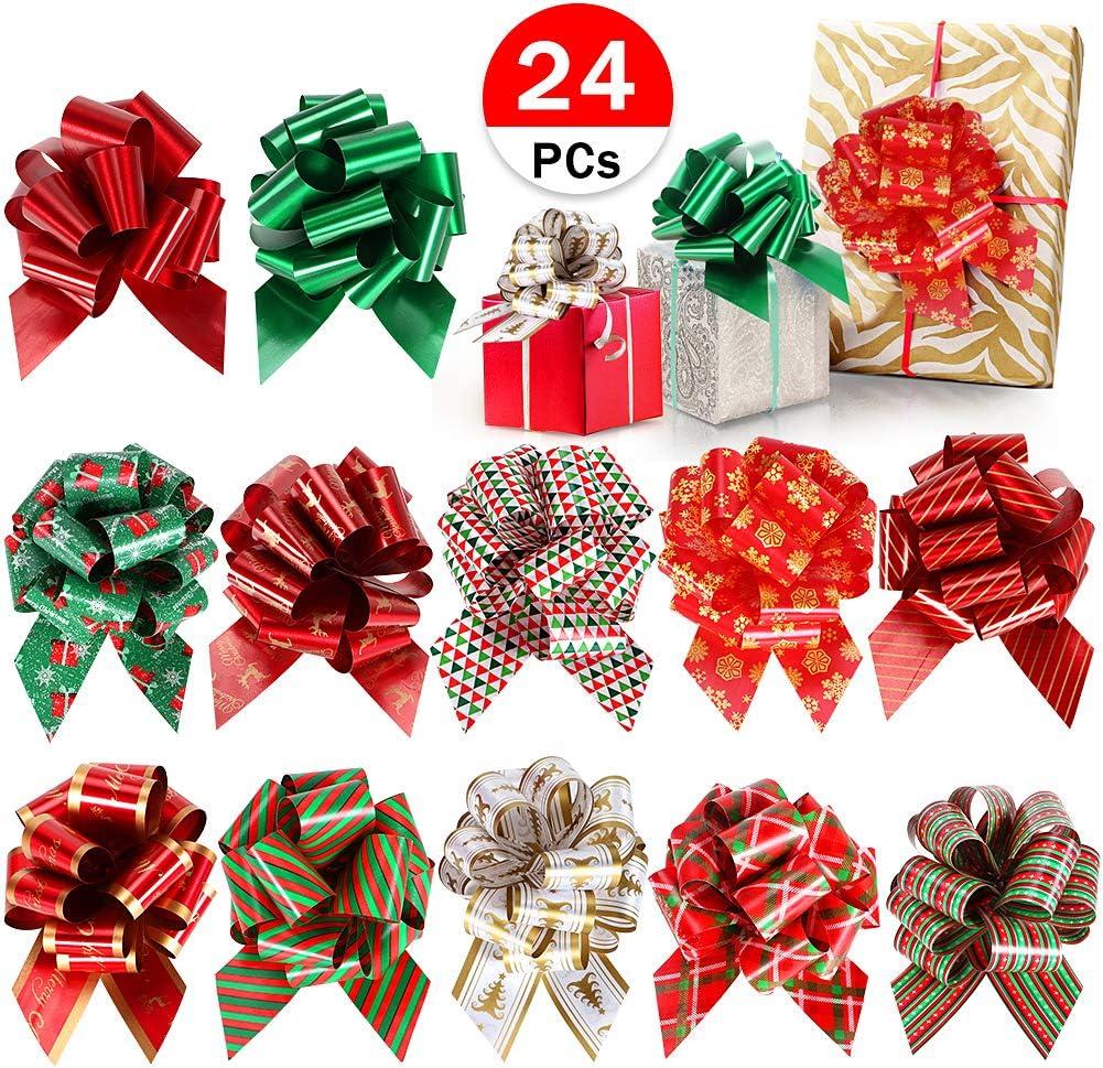 Tacobear 24 Piezas Lazo Regalo Lazo Rojo Oro Lazo Regalo Navidad Lazos de Cinta Regalo para Decoración de Navidad, Boda, Fiesta, Día de San Valentín y Lazo de Regalo de Cumpleaños (Rojo)