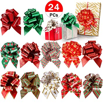 24 PCs Christmas Bows Pull Bows for Gift Wrapping Baskets Wedding Holiday Wine Bottle Decorations Gifts  sc 1 st  Amazon.com & Amazon.com: 24 PCs Christmas Bows Pull Bows for Gift Wrapping ...