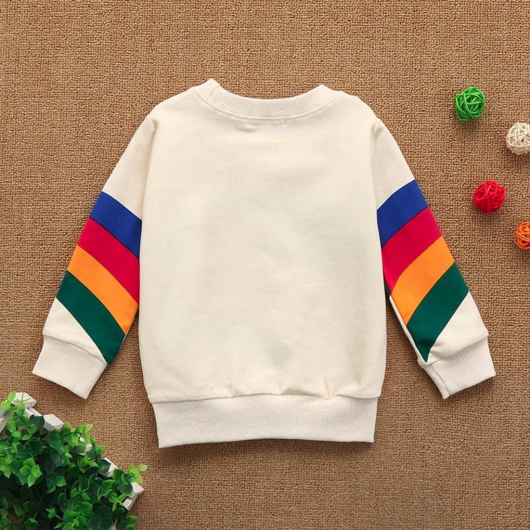 Fineser Baby Girls Boys Long Sleeve Rainbow Sweatshirt Pullover Tops Kid Spring Casual Clothing
