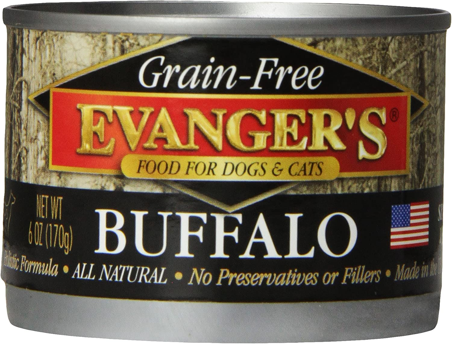 Evanger's Grain-Free Buffalo for Dogs & Cats, 24 x 6 oz cans