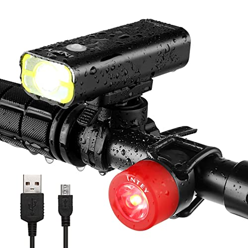 INTEY USB Rechargeable Bike Light Front LED Bicycle Headlight For Safe Cycling & Free Tail Light Set