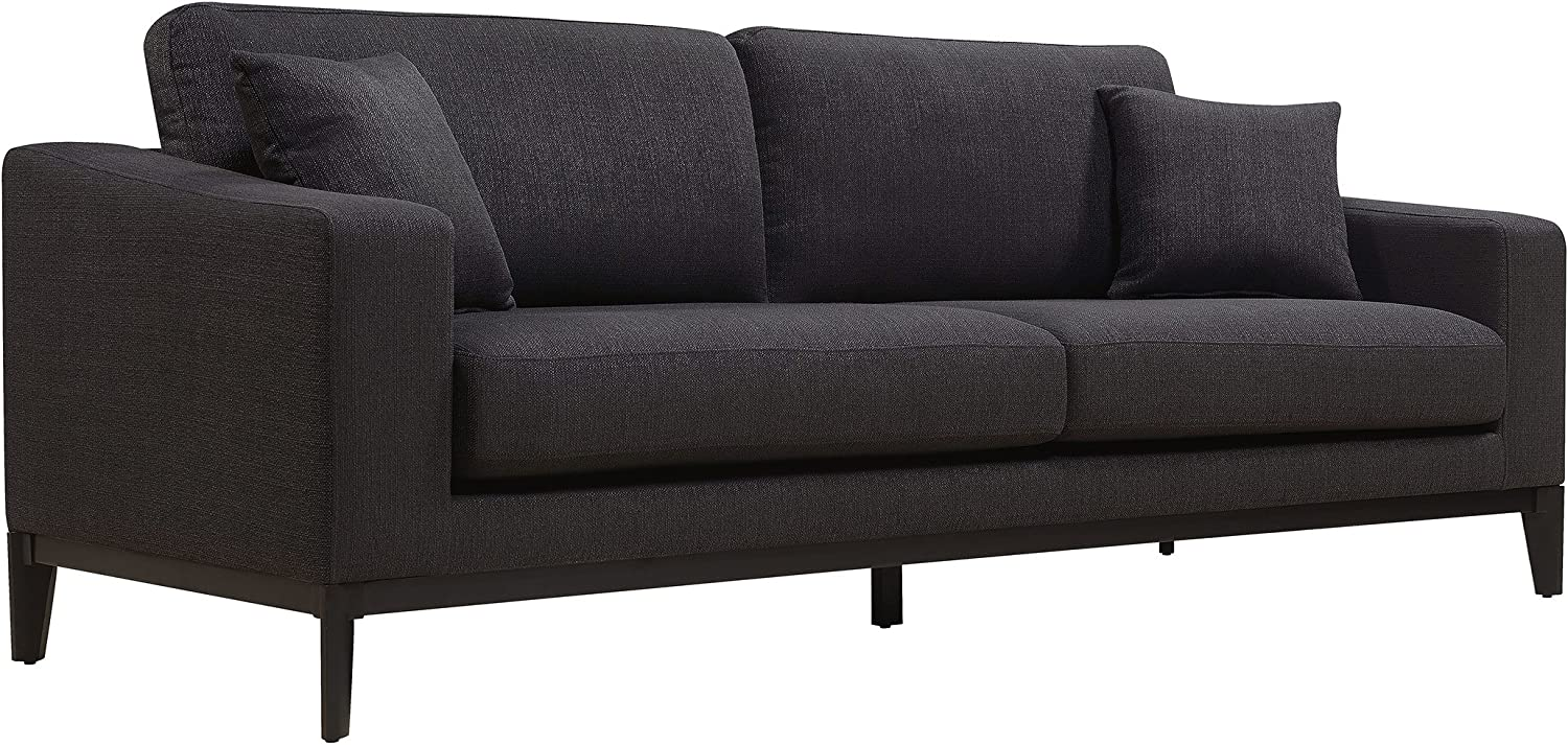 Elle Decor Olivia Track Arm Sofa with Solid Wood Base, Upholstered Living Room Couch, Mid-Century Modern Fabric, 86