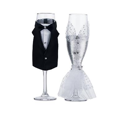 Wedding Tuxedo Dress Wine Glasses-ULA Handmade Bride and Groom Champagne Flutes for Toasting,Wedding Gifts,Bridal Shower Gifts,Wedding Favors,Couples Gifts,Wedding Decorations(set of 2)