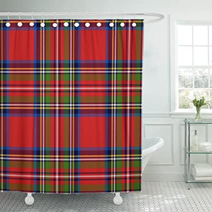 Emvency Shower Curtain Red Check Scottish Plaid In Classic Colors Royal Stewart Tartan Pattern With Clipping