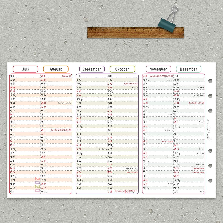 SinnWunder/® 2020 Premium-Kalendereinlagen Personal Leporello mit einem Halbjahr pro Seite Jahresplan LuckySinn