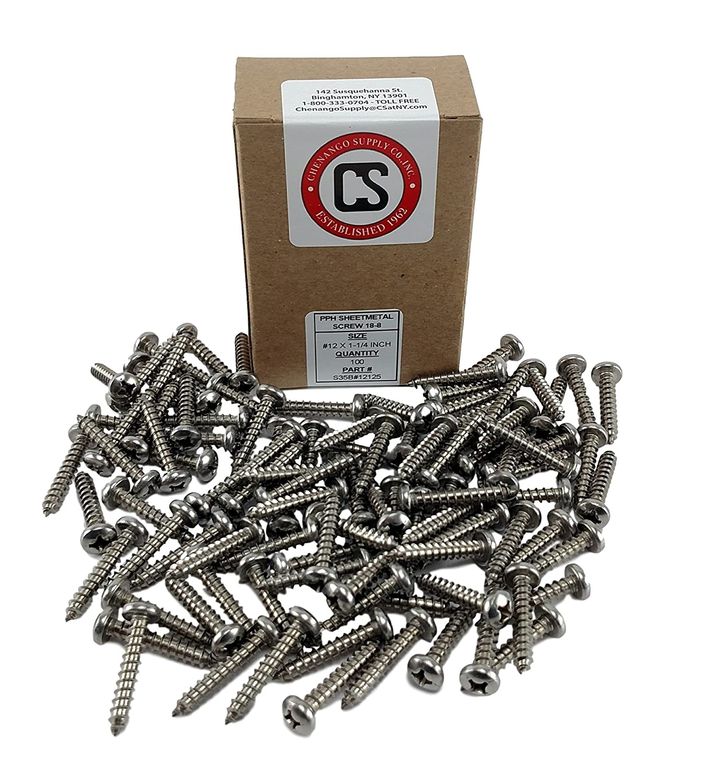 100 Sheet Metal Screws #12 X 1-1//2 INCH Chenango Supply S35B#12PARENT #12 X 1-1//2 Stainless Phillips Pan Head Sheetmetal Screw 1//2 to 2-1//2 in Listing