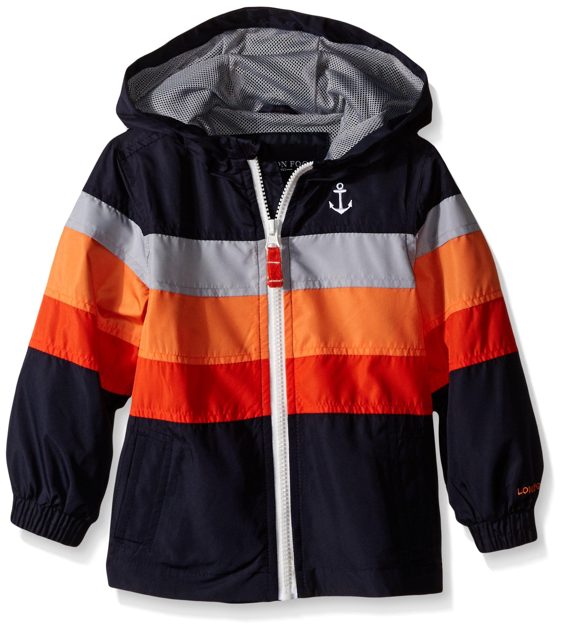London Fog Little Boys Chest Stripe Poly Lined Jacket, Navy, 7