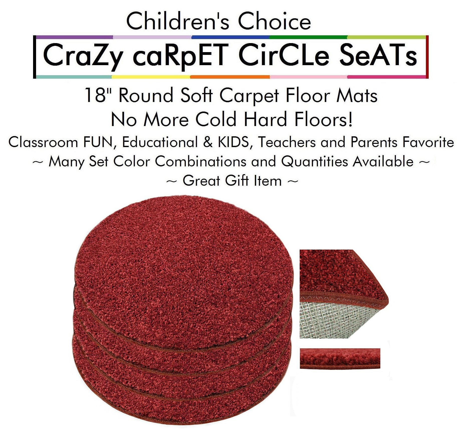 """Set 4 - Dragon Fire Kids CraZy CarPet CirCle SeaTs 18"""" Round Soft Warm Floor Mat - Cushions   Classroom, Story Time, Group Activity, Time-Out Spot Marker and Fun. Home Bedroom & Play Areas"""
