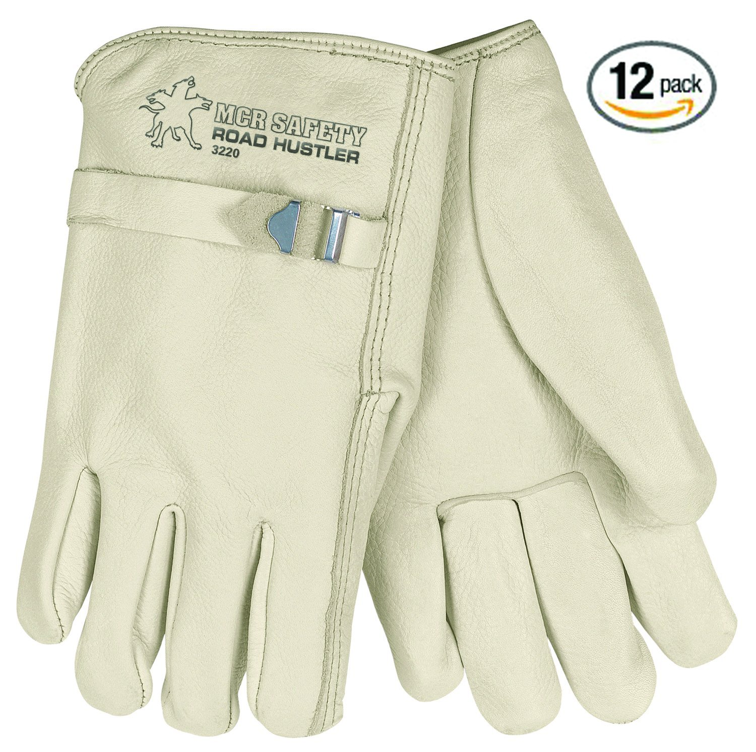 MCR Safety 3220XL Road Hustler Premium Grade Unlined Cow Grain Leather Driver Gloves with Pull Strap, X-Large, Cream, 12-Pack