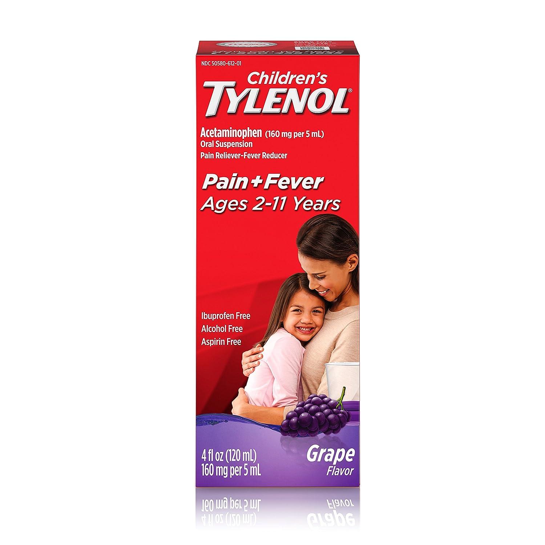 Children's Tylenol Oral Suspension Medicine with Acetaminophen, Grape, 4 fl. oz