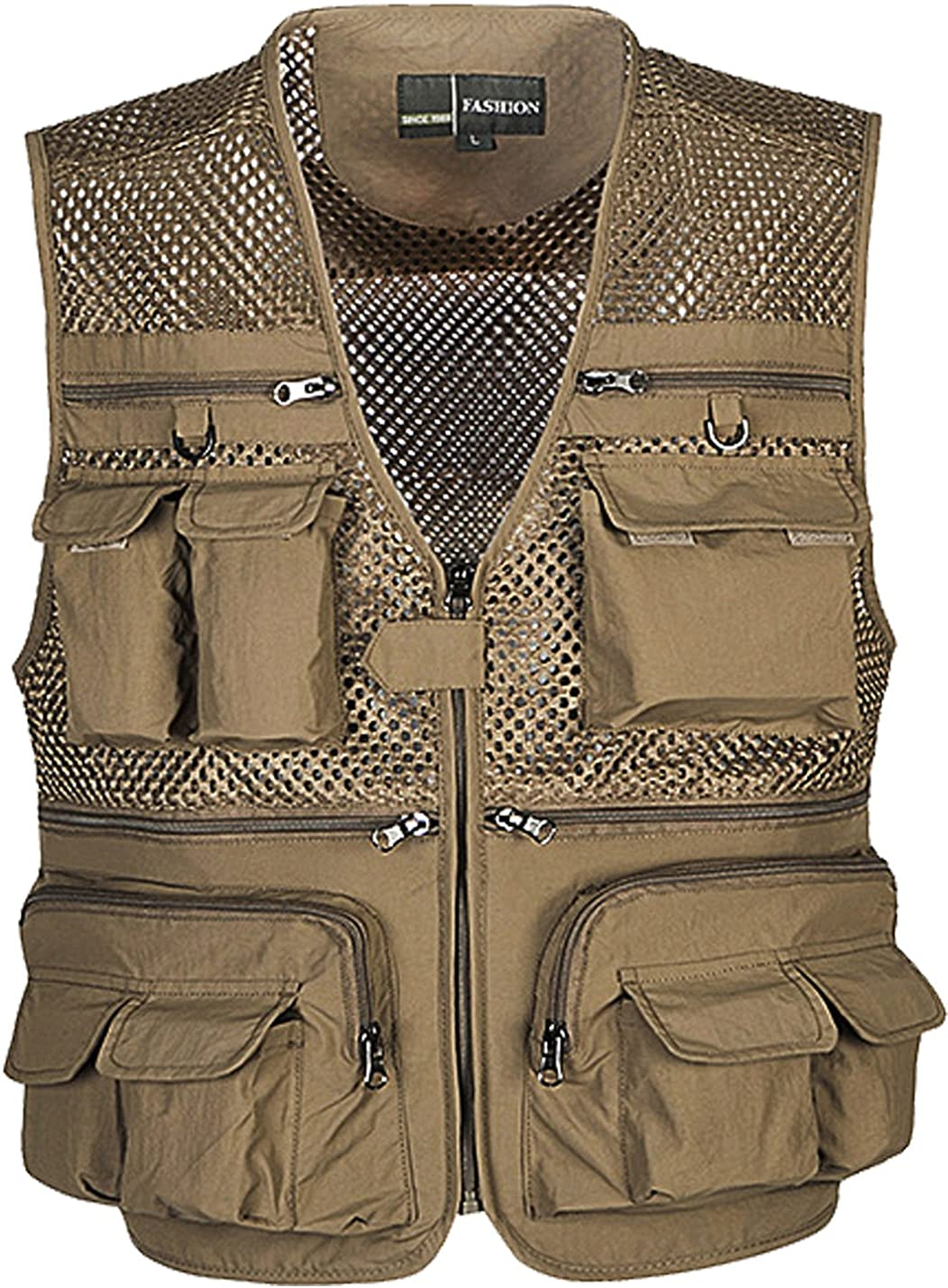Flygo Mens Summer Outdoor Work Safari Fishing Travel Photo Vest with Pockets at  Men's Clothing store