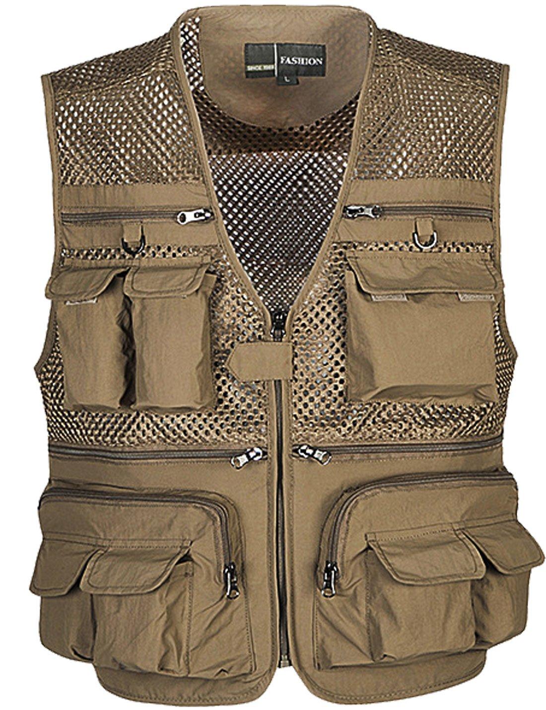 Zhusheng Men's Mesh Multi Pockets Photography Hunting Fly Fishing Outdoor Quick Dry Vest Breathable Waistcoat Jackets (Large(Asia Tag 3XL), Khaki)
