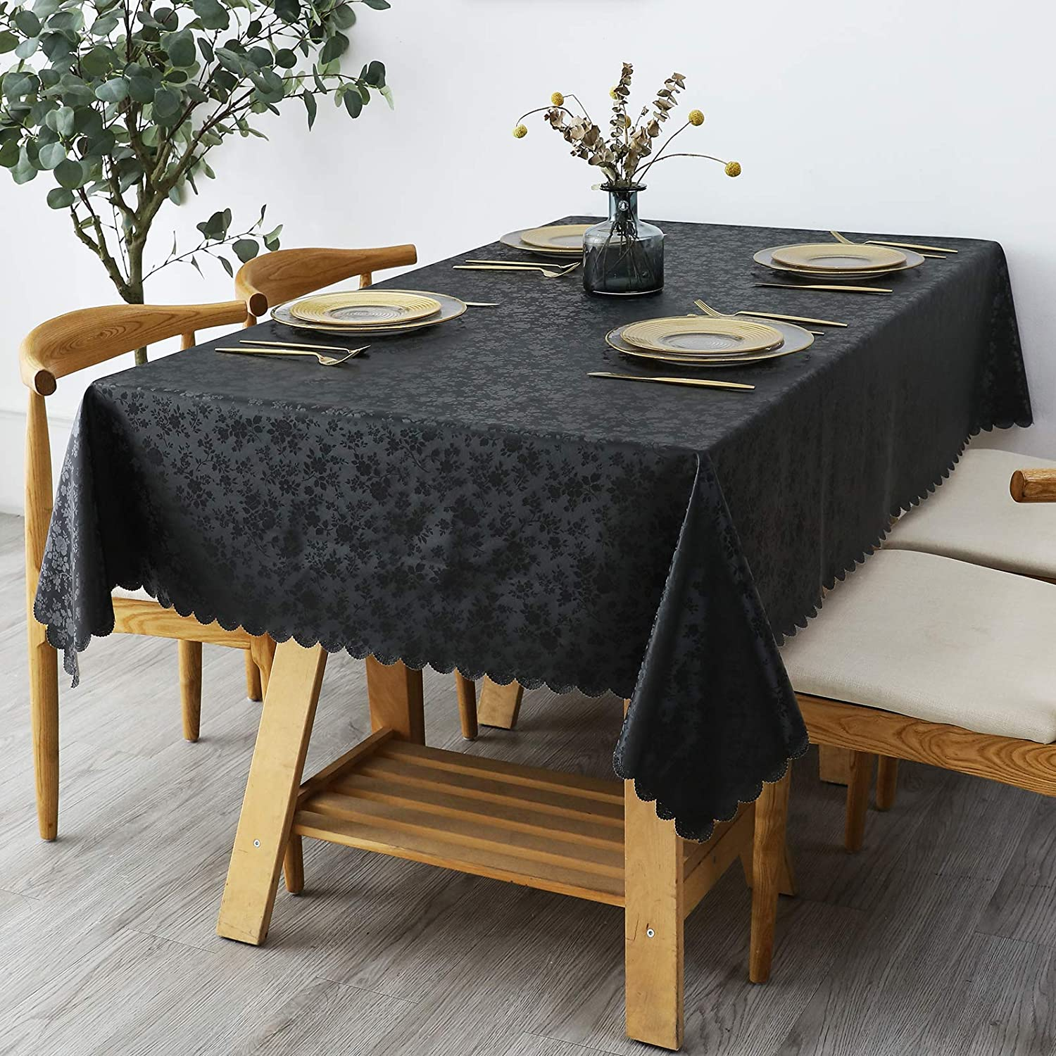 "smiry Waterproof Vinyl Tablecloth, Rectangle Heavy Duty Table Cloth, Wipeable Table Cover for Kitchen and Dining Room (Black, 52"" X 70"")"