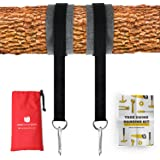 Tree Swing Hanging Kit (Set Of 2) Ultrasecure Extra Long 10 ft Straps + 2 Tree Protectors + 2 Carabiners with Locking System & Video Instructions, made for Tree Sets, Swings & Tire Swing