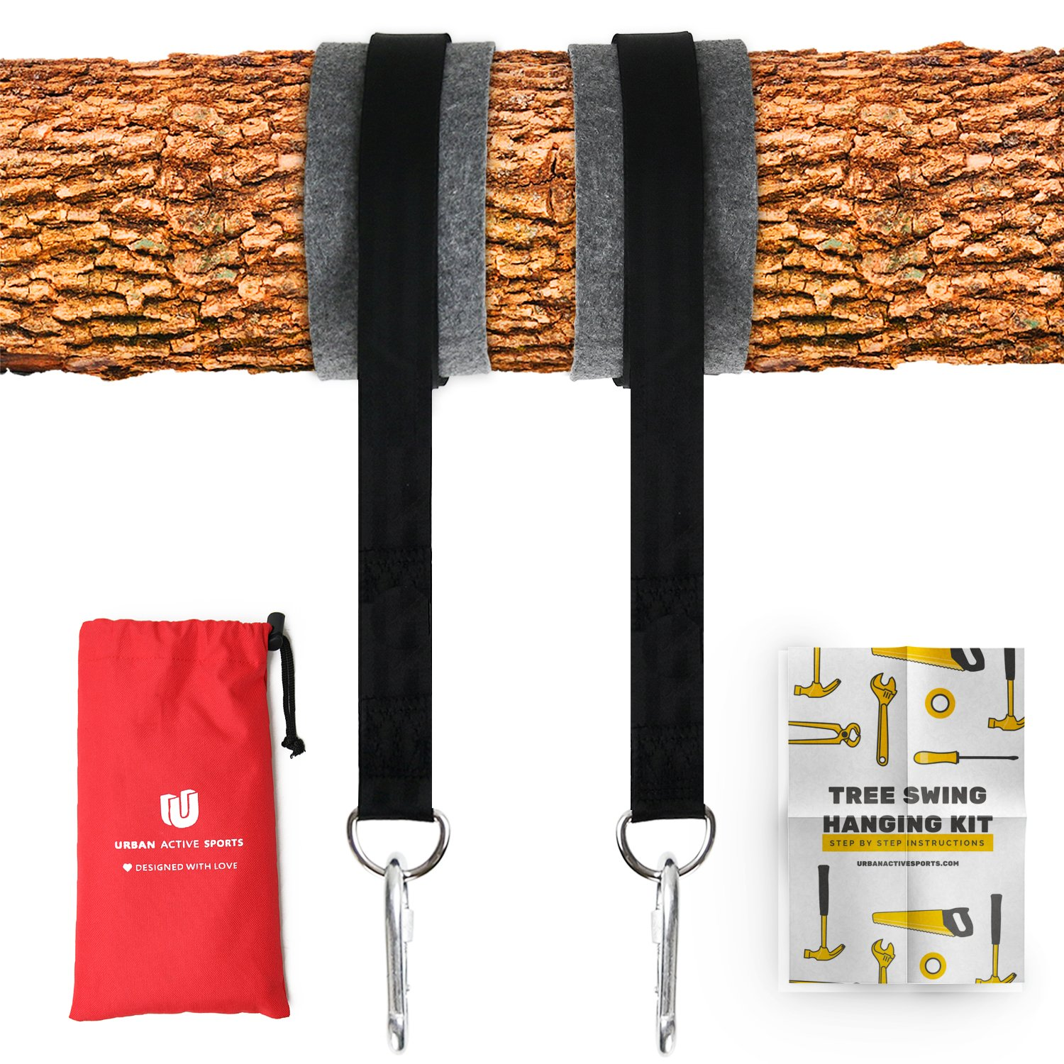 Tree Swing Hanging Kit (Set Of 2) Holds 2200 LBS Extra Long 10 ft Straps + 2 Tree Protectors + 2 Carabiners with Locking System & Video Instructions, for Swing Sets, Tree Swings, Hammock & Tire Swing by Urban Active Sports