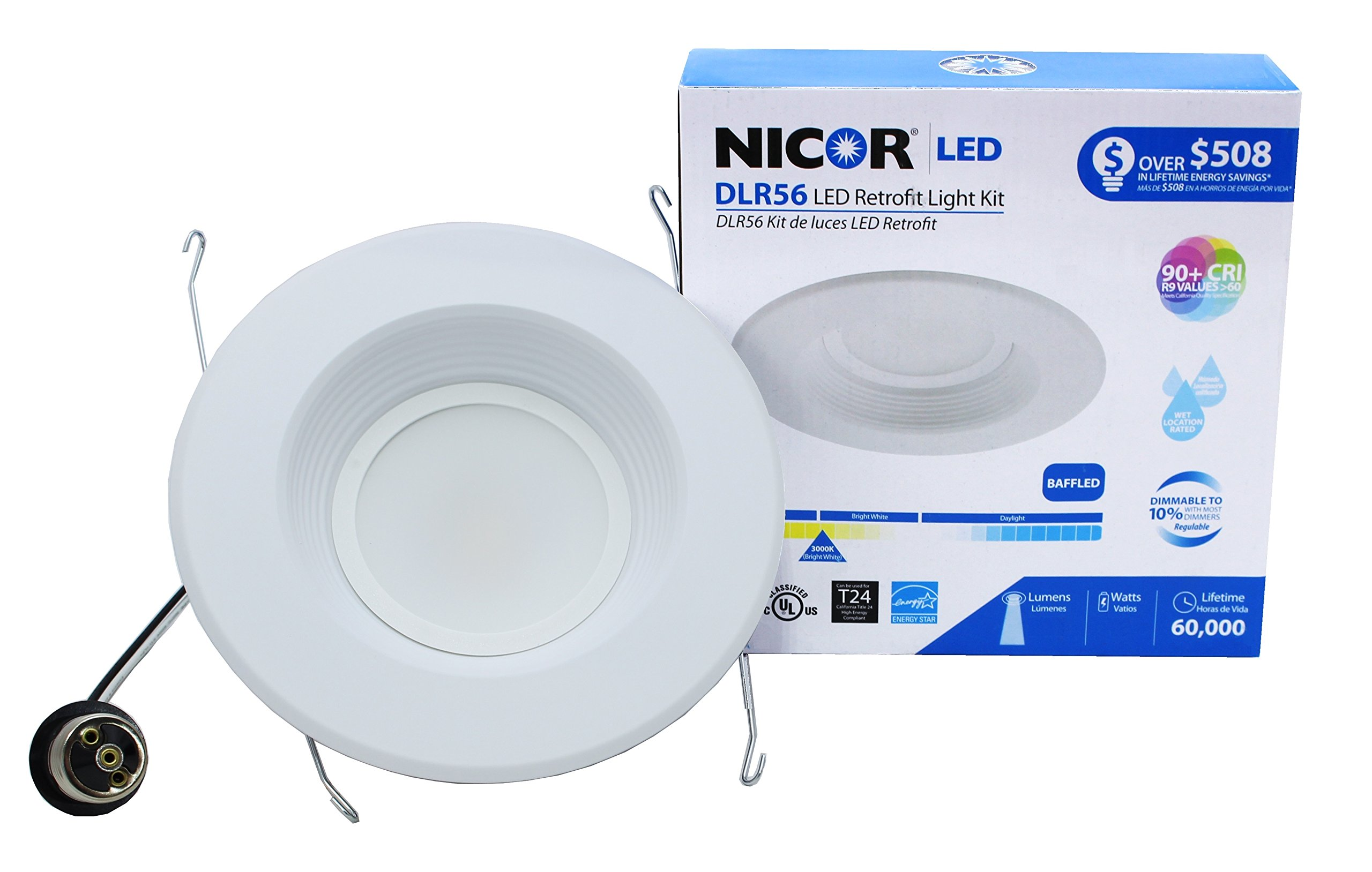 NICOR Lighting 5/6-Inch Dimmable 1200-Lumen 3000K LED Downlight Retrofit Kit for Recessed Housings, White Baffle Trim (DLR56-3012-3K-WH-BF)