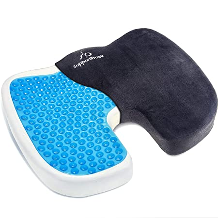 Cojín terapéutico ortopédico de gel para sentarse. Cojín ergonómico de espuma de memoria para alivio de coxis, espalda inferior y ciática. Portátil, ...