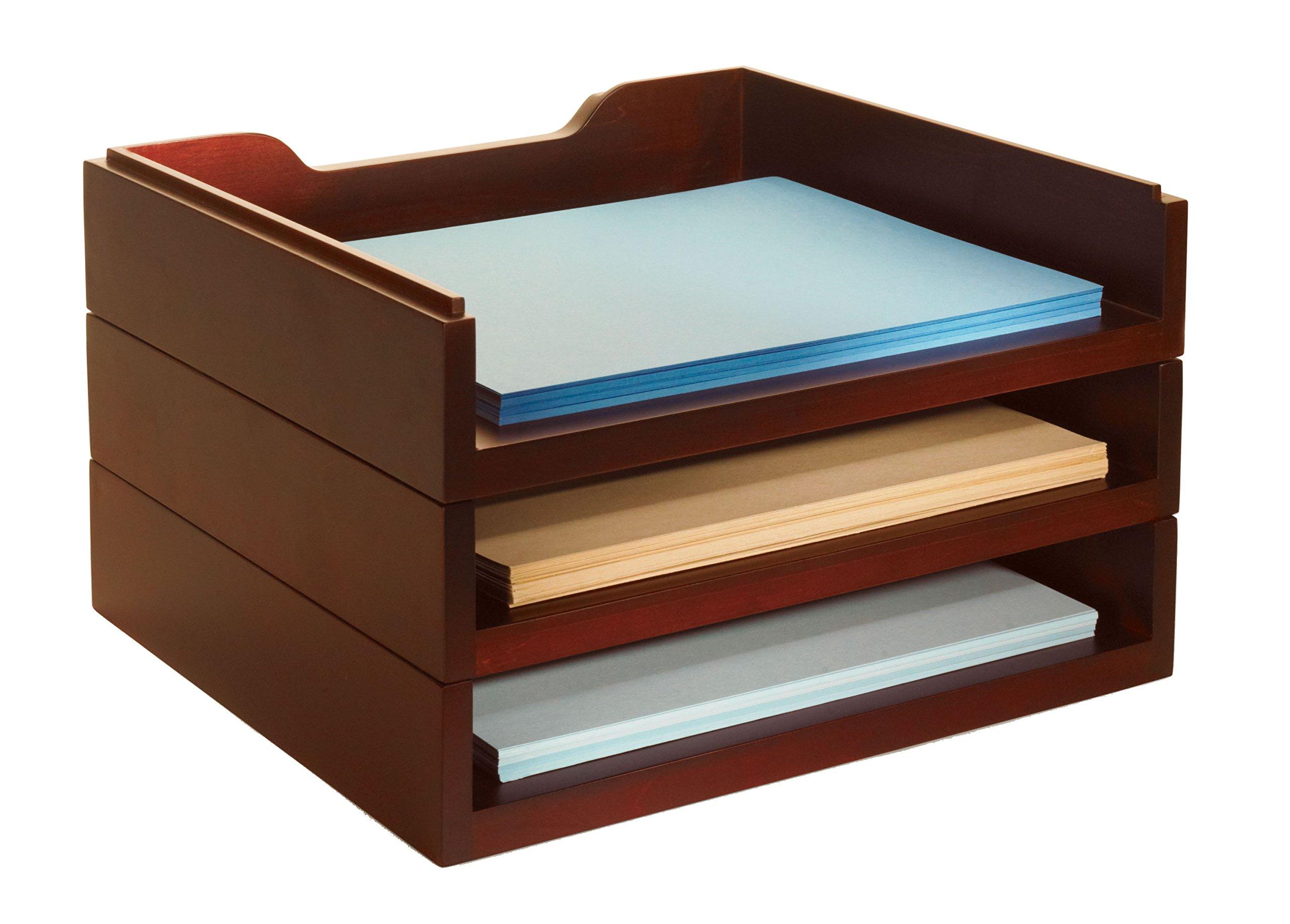Bindertek Stacking Wood Desk Organizers with 3 Letter Tray Kit, Mahogany (WK4-MA) by Bindertek