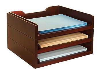 Marvelous Bindertek Stacking Wood Desk Organizers with Letter Tray Kit Mahogany WK MA
