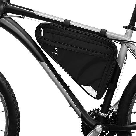 Bolsa para Cuadro de Bicicleta Prémium I Bolsa Espaciosa para Bici de Hombre y Mujer I Bolsa Triangular Impermeable con Sensor Reflectante (L): Amazon.es: Deportes y aire libre