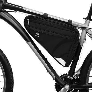 Bolsa para Cuadro de Bicicleta Prémium I Bolsa Espaciosa para Bici de Hombre y Mujer I Bolsa Triangular Impermeable con Sensor Reflectante