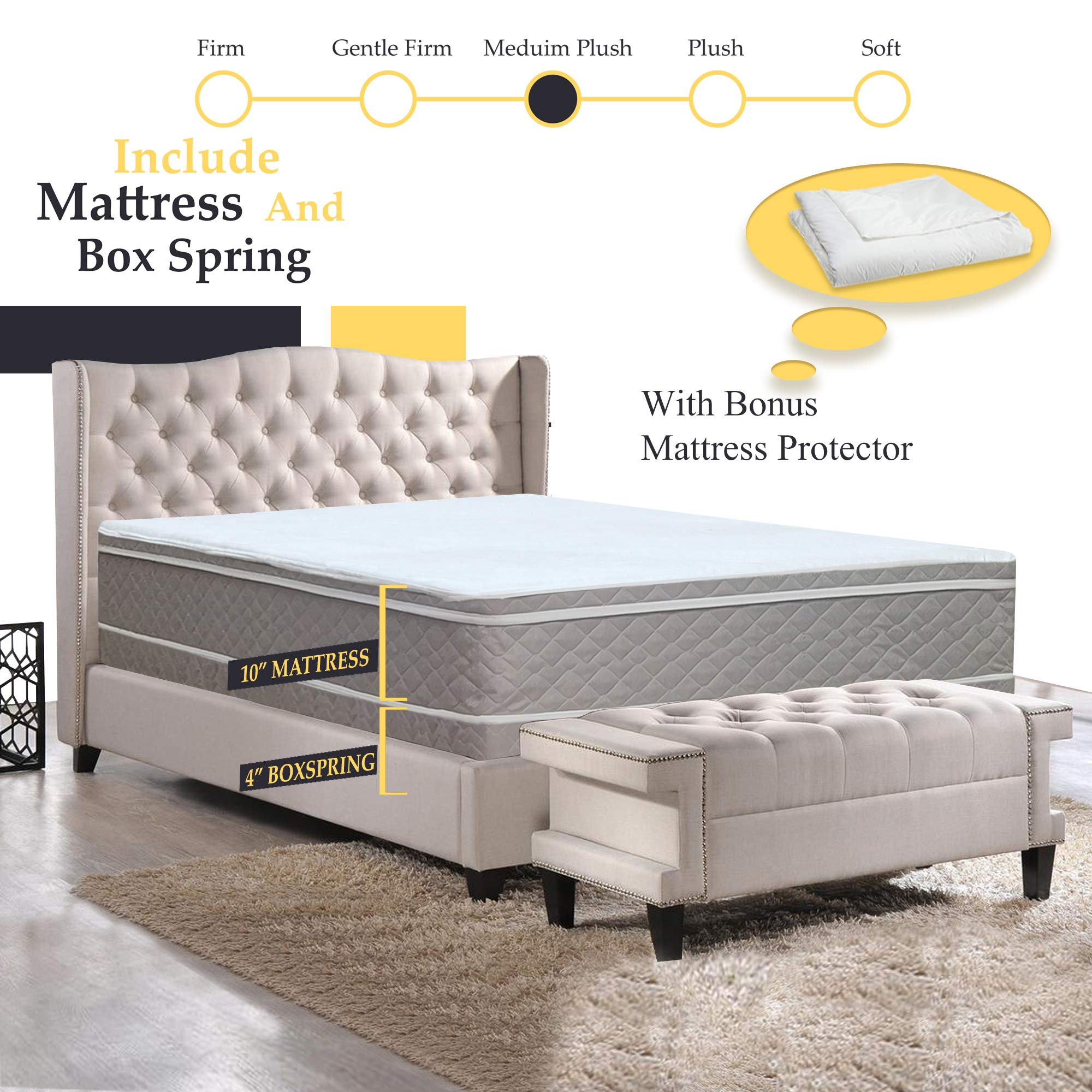 GREATON 10-Inch Meduim Plush Eurotop Pillowtop Innerspring Mattress And 4'' Low Profile Split Wood Traditional Box Spring/Foundation Set, Good For The Back, King, 78'' x 79'' by GREATON