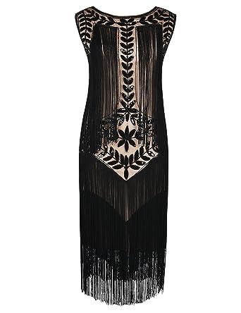223899364fb PrettyGuide Women s 1920s Vintage Beaded Fringed Inspired Flapper Dress S  Black Beige