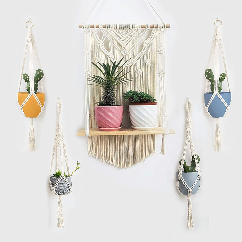 Macrame Wall Hanging Shelf, Macrame Plant Hanger (5PCS) , Wall Shelf Organizer, Handmade Cotton Rope Bohomia Woven Home Wall Decor