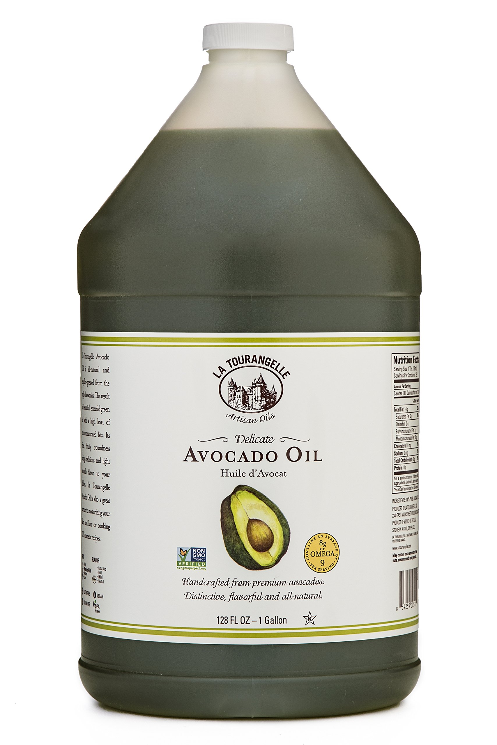 La Tourangelle Avocado Oil 128 Fl. Oz., All-Natural, Artisanal, Great for Salads, Fruit, Fish or Vegetables, Great Buttery Flavor
