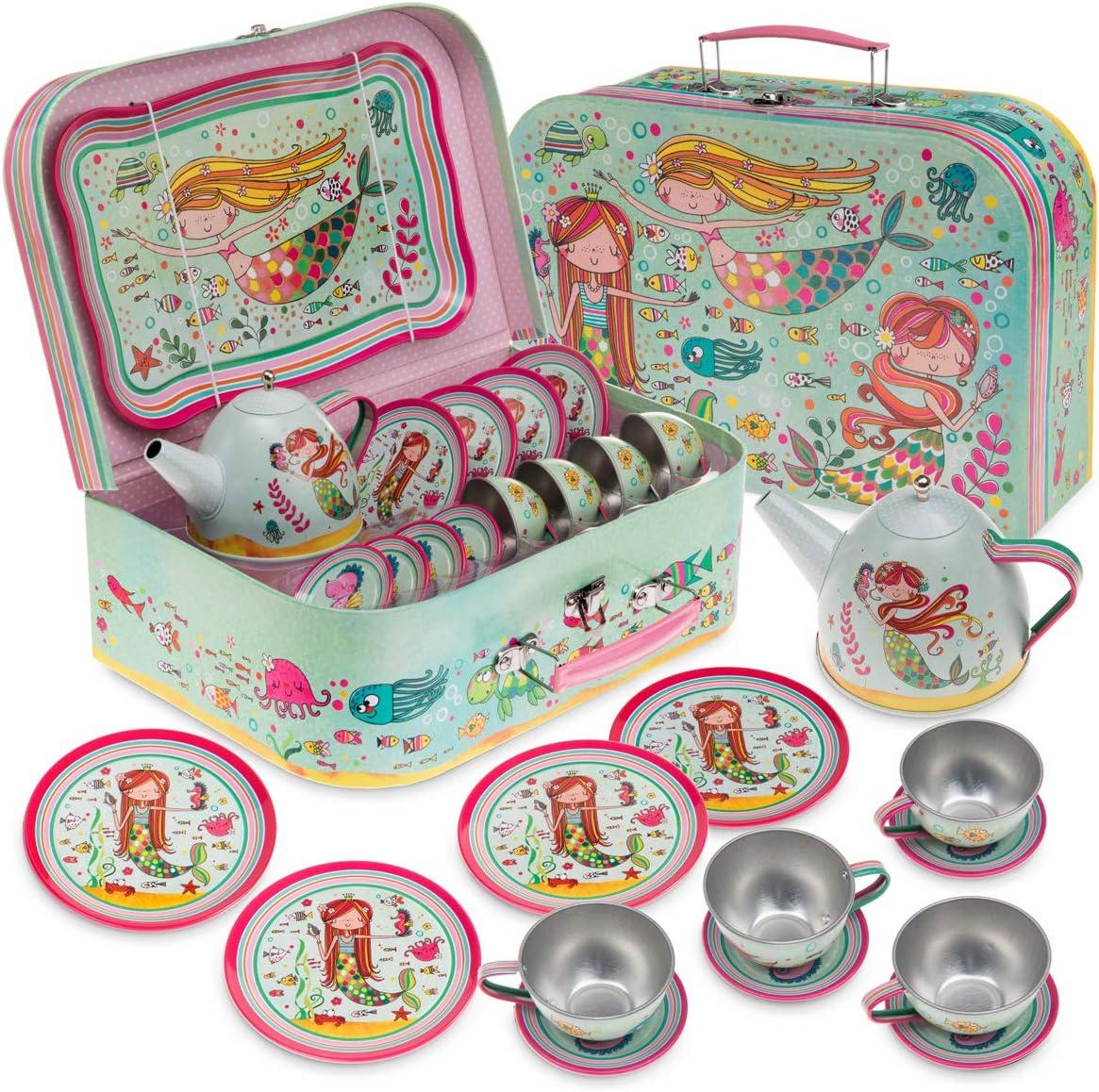 Jewelkeeper Joyero - Juego de té de Juguete para niños & Estuche - Diseño de Sirena