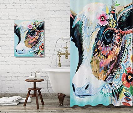 Amazon LB Animal Indian Cow Shower Curtain Set Bathroom