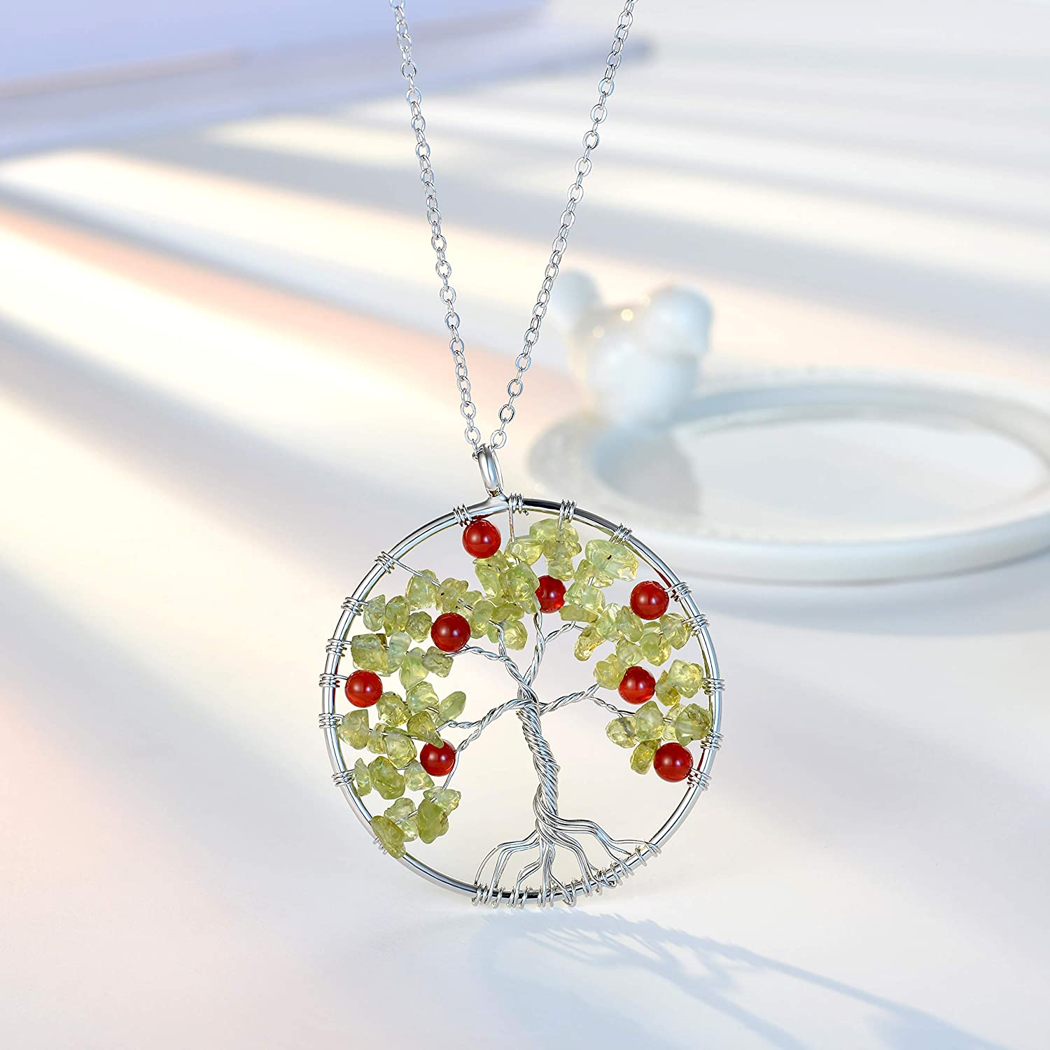 U Angela Tree of Life Gemstone Pendant Necklace Amethyst Rose Crystal Chakra Jewelry