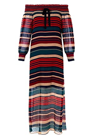 36f7b0231f English Factory Off-The-Shoulder Striped Maxi L Red  Amazon.co.uk  Clothing