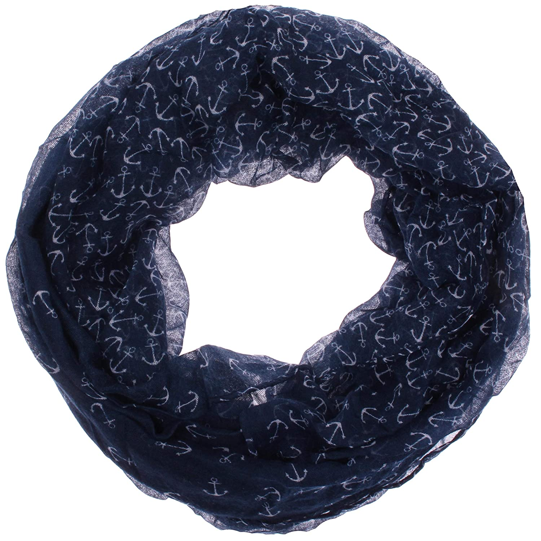 Damen Rundschal Sommerschal Zarter Sommer ausbrenner Loopschal Model:Anker angenehm und leicht zu tragen Loop Schal